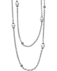 Lagos Sterling Silver Luna Cultured Freshwater Pearl And Caviar Ball Station Necklace - Metallic