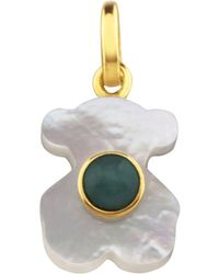 Tous 18k Yellow Gold Super Power Amazonite & Mother - Of - Pearl Bear Pendant - Metallic