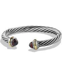 David Yurman - Cable Classics Bracelet With Garnet & 14k Gold - Lyst