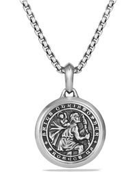 David Yurman Men's 26.5mm Sterling Silver St. Christopher Amulet - Metallic