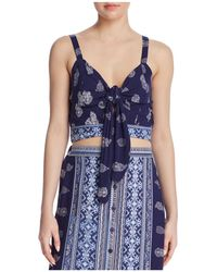 Band Of Gypsies - Bandana-print Tie-front Cropped Top - Lyst