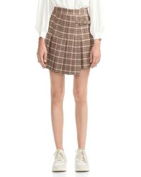 Maje Jilo Asymmetric Pleated Plaid Skirt - Natural