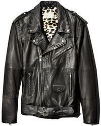 DEADWOOD Leroy Leather Biker Jacket - Black