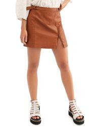 Free People Midnight Magic Faux Leather Mini Skirt - Brown
