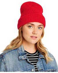 Aqua Ribbed Cuff Hat - Orange