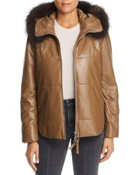 Maximilian Fox Fur Trim Leather Jacket - Brown