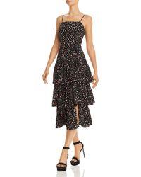 Olivaceous Floral Tiered-hem Dress - Black