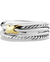David Yurman Sterling Silver 18k Yellow Gold Ring - Metallic
