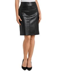 Vince Camuto Croc Embossed Faux Leather Skirt - Black