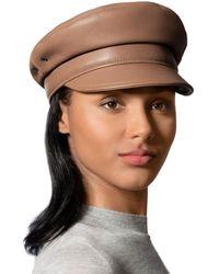 Eric Javits Night Porter Leather Cap - Brown
