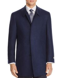 Canali Solid Wool Coat - Blue