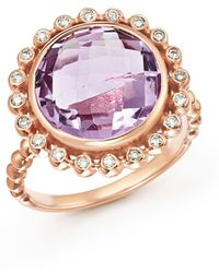 Bloomingdale's | Rose Amethyst And Diamond Statement Ring In 14k Rose Gold | Lyst