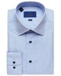 David Donahue Micro Windowpane Trim Fit Dress Shirt - Blue