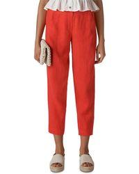 Whistles Linen Barrel - Leg Pants - Red