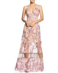 Dress the Population - Gigi Floral Illusion Gown - Lyst