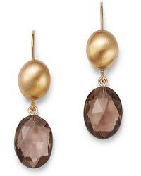 Bloomingdale's - Smoky Quartz Oval Drop Earrings In 14k Yellow Gold - Lyst