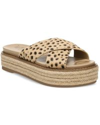 Sam Edelman Korina Printed Calf Hair Crossover Espadrille Platform Sandals - Brown