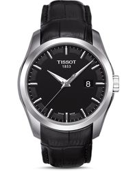 Tissot - Men's Swiss Couturier Black Leather Strap Watch 39mm T0354101605100 - Lyst