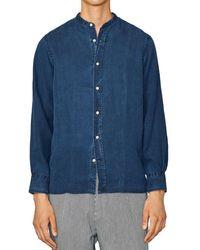 Officine Generale Gaston Band Collar Shirt - Blue