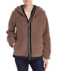 Vince Camuto Hooded Faux Fur Zip - Front Teddy Jacket - Black