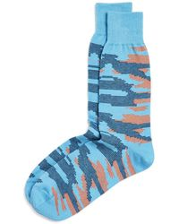 Bloomingdale's Camo Mille Righe Socks - Blue