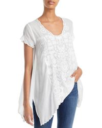Johnny Was Embroidered Folk Tunic - White