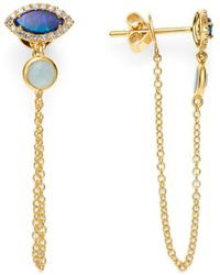 Meira T - Opal & Diamond Draped Chain Stud Earrings - Lyst