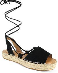Splendid Meredith Almond Toe Strappy Espadrille Platform Sandals - Black