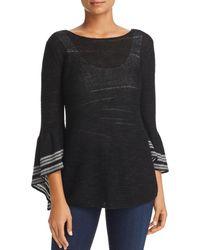 NIC+ZOE - Nic+zoe Traveling Stripe Flutter Sleeve Sweater - Lyst