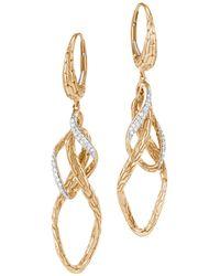 John Hardy - 18k Yellow Gold Classic Chain Pavé Diamond Drop Earrings - Lyst