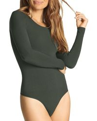 Yummie By Heather Thomson Seamlessly Shaped Long Sleeve Bodysuit - Green