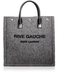 Saint Laurent Rive Gauche Wool Blend Tote - Black