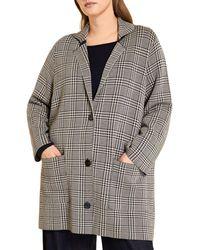 Marina Rinaldi Madre Check Coat - Blue