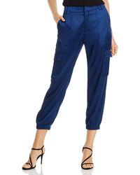 Aqua Satin Cargo Jogger Trousers - Blue