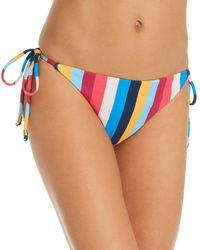 Shoshanna Clean Triangle Rainbow Stripe Bikini Bottom - Blue