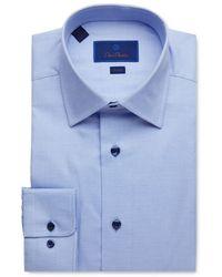 David Donahue Geo Weave Trim Fit Dress Shirt - Blue