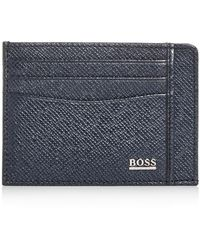 BOSS by Hugo Boss Signature Leather Card Case - Blue