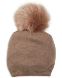 Kyi Kyi Cashmere Faux Fur Pom Pom Hat - Brown