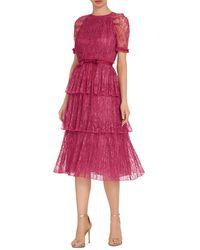 ML Monique Lhuillier Lace Tiered Midi Dress - Pink