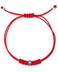 Meira T 14k White Gold Blue Sapphire & Diamond Red Cord Star Pull String Bracelet