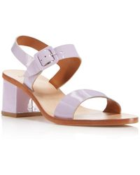 LOQ - Women's Patent Leather Block Heel Ankle Strap Sandals - Lyst