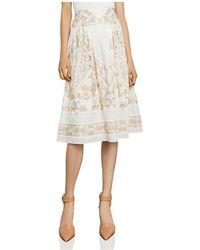 BCBGMAXAZRIA - Embroidered Midi Skirt - Lyst