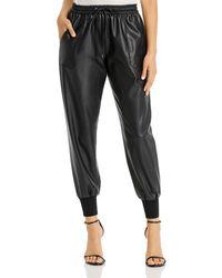 Elie Tahari Zuma Faux - Leather Jogger Trousers - Black