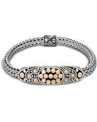 John Hardy - Sterling Silver And 18k Bonded Gold Dot Deco Oval Station Bracelet - Lyst