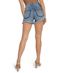 GOOD AMERICAN Bombshell Shadow Pocket Jean Shorts In Blue647