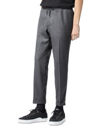 The Kooples Wool Blend Drawstring Trousers - Grey