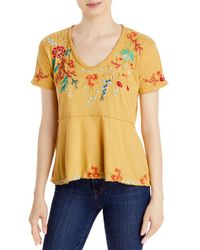 Johnny Was Ariel Embroidered Top - Yellow
