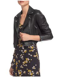 Whistles | Rose Cropped Leather Jacket | Lyst