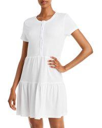 Monrow Henley Tiered Mini Dress - White