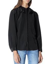 The Kooples Ruffled Peter Pan Collar Silk Shirt - Black
